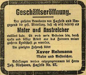 Zeitungsannonce Borkener Zeitung April 1924