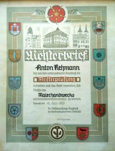 Meisterbrief Anton Rehmann