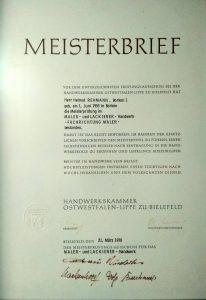 Meisterbrief Helmut Rehmann