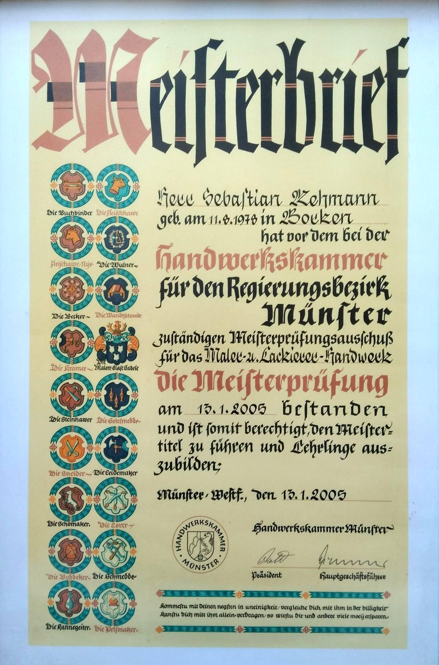 Meisterbrief Sebastian Rehmann