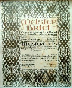 Meisterbrief Xaver Rehmann